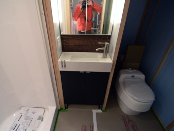 a glimpse of our bathroom footprint wirh our new composting toilet!