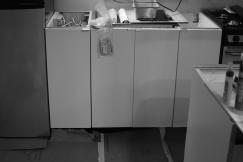Sink cabinet doors (before spacing & leveling)
