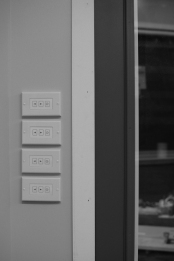 Entry master controls. wireless (radio frequency) dimmer control of main light, kitchen light, loft light and exterior light upon entry.