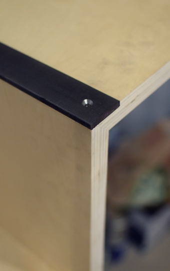Interior stair steel flatbar inlay close-up