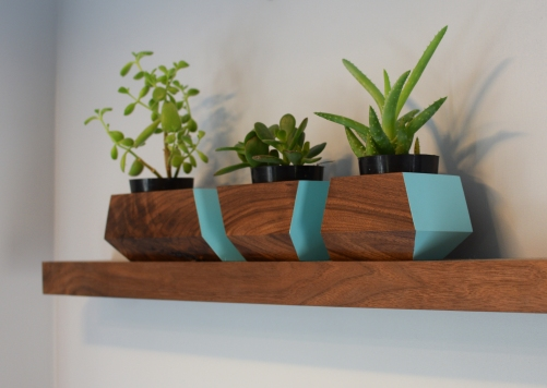 Floating walnut shelf and modular planter