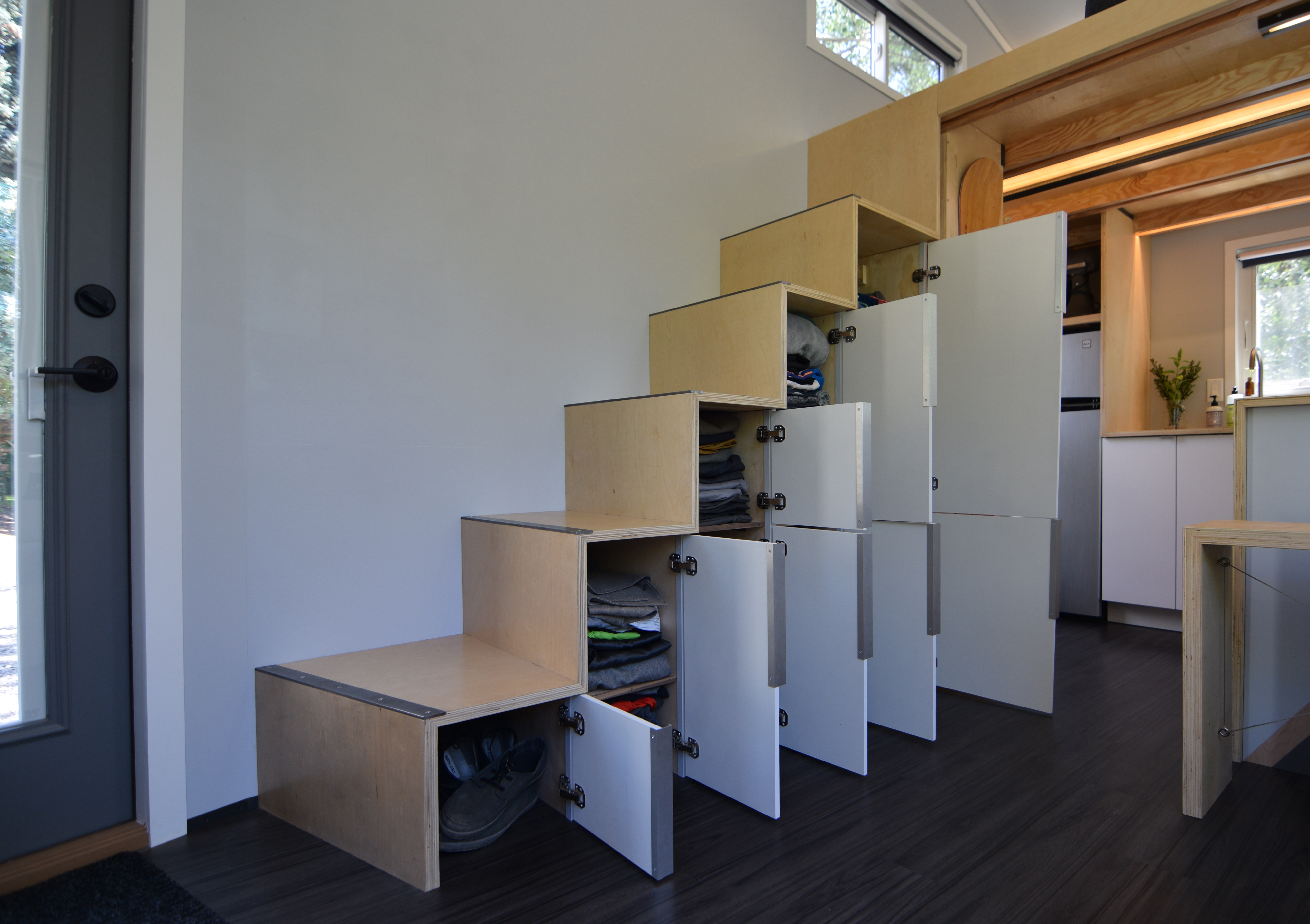 Stair storage & SHED tiny house FINISHED PHOTOS!