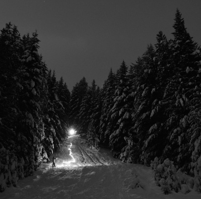 night sledding as seen through a long exposure